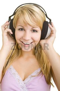 Lachend Musik hören