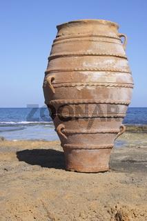 Amphora at the beach of Malia, Crete, Greece,