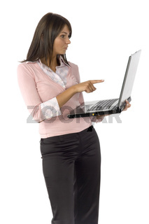 woman with laptop - pointing screen