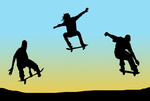 Image of jumping skateboarders with blue backgroun