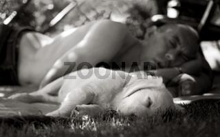 Mittagsschlaf von Hund und Herrchen