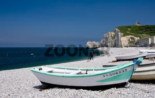 Boot auf dem Etretat Strand, Normandie