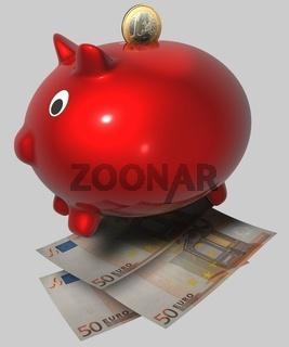 rotes Sparschwein mit Münzeinwurf