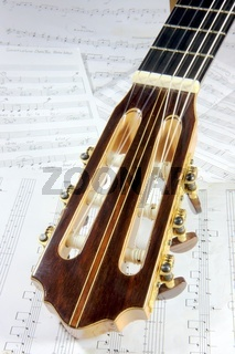 the head and neck of a classical guitar