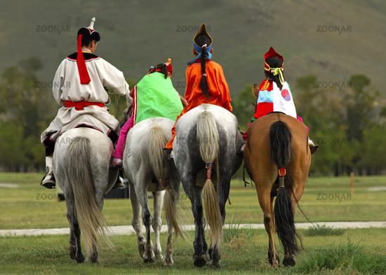 Mongolische Reitergruppe