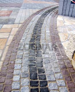 Pflaster, verschiedene Granitsteine