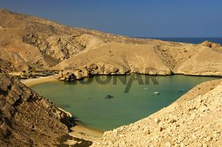 Malerische Bucht des Oman Tauchzentrum