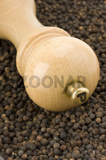 a wooden pepper mill on white background