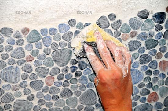 Fliesen verfugen  Foto Fliesen Mosaik verfugen Bild #469849