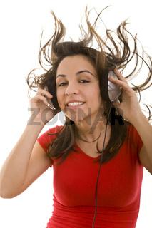 Fliegende Haare beim Musikhören