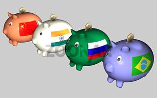 Sparschweine, BRIC-Staaten