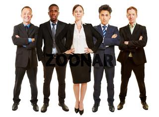 Geschäftsfrau als Geschäftsführer vor Business Team