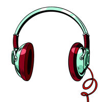 Stylish audio headphones isolated on white background
