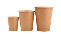 Three brown paper parchment coffee cups isolated