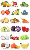 Obst und Gemüse Früchte Apfel Orange Zitrone Beeren Karotten Bananen Freisteller freigestellt isoliert
