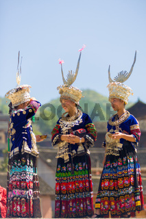 Miao Minority Women Festival Clothes Headdress