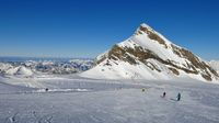 Ski area on the Diablerets glacier, Switzerland. Clear winter day.