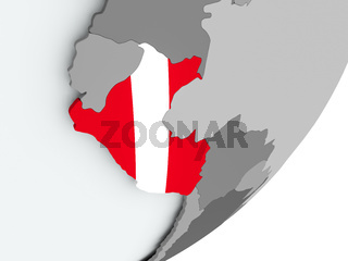 Flag of Peru on map