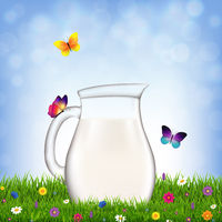 Jug With Milk And Grass And Flowers