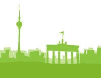 Berlin, Skyline abstrakt, grün