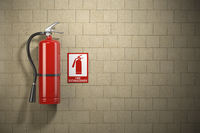 Fire extinguisher with emergency fire sign on the wall background.