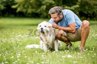 Mann streichelt seinen Hund im Park