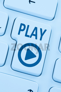 Play Button drücken Musik Film hören Internet Computer blau web