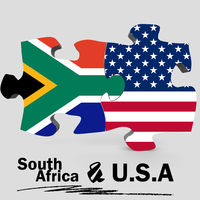USA and South Africa flags in puzzle