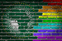 Brick wall texture - Flag of African Union with rainbow flag
