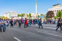 people on Khreshchatyk street in Kiev city