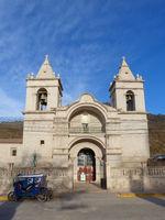 Catholic church at Plaza de Armas in Chivay, Peru