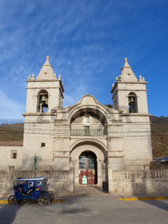 Catholic church at Plaza de Armas in Chivay, Peru
