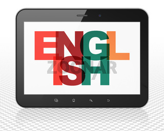 Learning concept: Tablet Pc Computer with English on  display