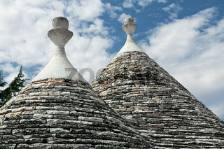 Typical conical roofs of Trulli houses in Alberobello, Apulia, Italy