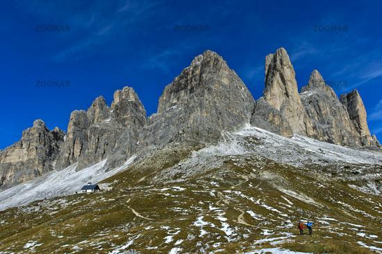 Gebirgsstock Drei Zinnen, Südwand, Sextner Dolomiten, Südtirol, Trentino-Alto Adige, Italien