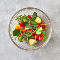 Fresh salad from vegetables in a plate
