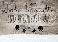 Black Calligraphy Gutes Neues Means Happy New Year, Snow