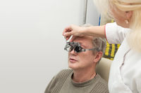 Man in optometric clinic