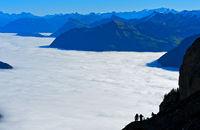 Nebelmeer über dem Vierwaldstädter See, Alpnachstad, Schweiz