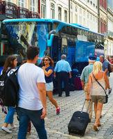 Tourist arrives in Porto, Portugal
