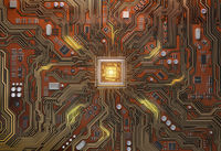 Circuit board with CPU.  Motherboard system chip with glowing processor. Computer´s technology and internet concept.