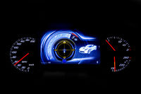 Modern light car mileage on black background MPH