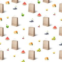 pattern of paper bags and different fruits