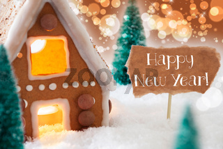 Gingerbread House, Bronze Background, Text Happy New Year