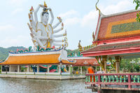Huge statue of Guanyin godness at Wat Plai Laem, Ko Samui