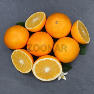 Orangen Orange Frucht Früchte Quadrat Schieferplatte von oben
