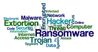 Word Cloud on a white background - Ransomware