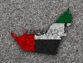Karte und Fahne der Vereinigten Arabischen Emirate auf  Mohn - Map and flag of United Arab Emirates on poppy seeds