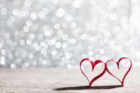 Ribbon hearts and bokeh lights