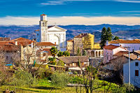 Town of Vizinada church and skyline above istrian landscape view